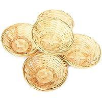 Juego bambú cesta, cesta redonda para engastadas con decoración, aprox. 15x 5cm, wahlweise 5o 10unidades., madera, beige, 5 er Set