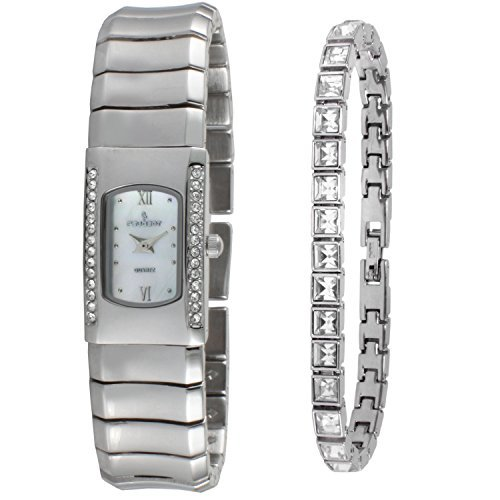 Peugeot Women Silver Designer Crystal Watch with Matching Crystal Tennis Bracelet Gift Set
