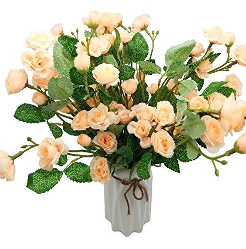 Mazzo Di Fiori O Pianta.Bluexp 6 Bouquet Di Fiori Artificiali Seta Rose Plastica Rose