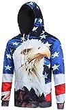 Pizoff Unisex Hip Hop Sweatshirts Kapuzenpullover mit Halloween 3D Digital Print geschenke usa adler vogel american