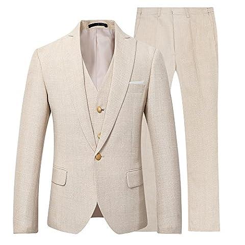 Classique Homme en Lin Coton Costume naturelle Coupe Slim trois-pièces un boutons affaires décontraction mariage mode