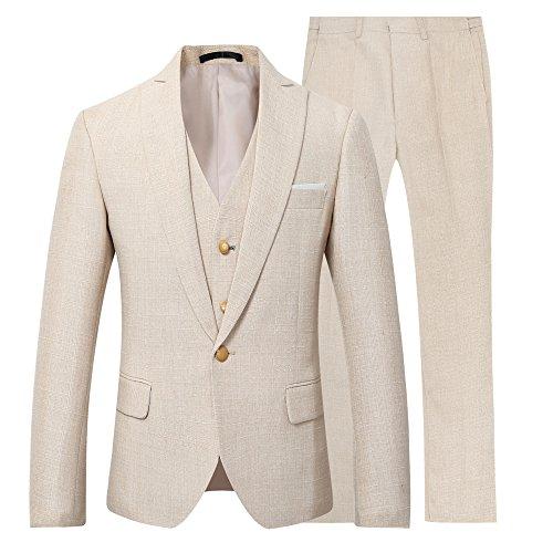 Youthup abiti uomini di 3 pezzi regular fit 1 pulsante lino abito