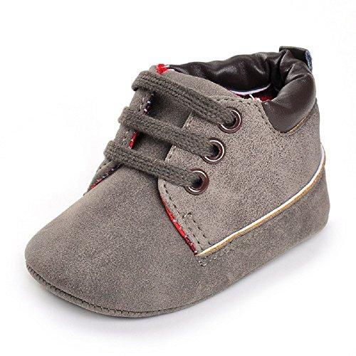 hibote Nouveau-né Bébé infantile Garçons Filles doux Sole Leathe Sneaker Toddler Prewalker Chaussures grey