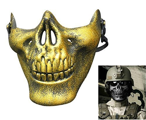 (Inception Pro Infinite Maske für Kostüm - Verkleidung - Karneval - Halloween - Cs - Skelett - Halbschädel - Knochen - Militär - US - Goldfarbe - Erwachsene - Mann - Junge - Armee)
