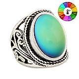 Mojo, MJ-RS019, Ring, handgefertigt, einzigartiges Muster, antikes Sterlingsilber, ovale Steine, Stimmungsring mit Farbwechsel