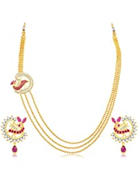 Sukkhi Divine 3 String Peacock Gold Plated CZ Necklace Set For Women