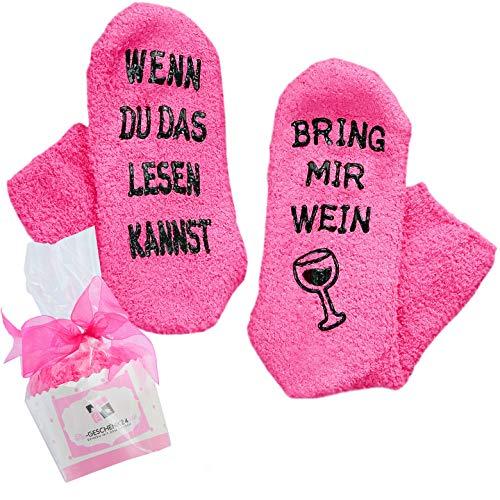 Wein-Socken (fusselfrei) Geschenk für Frauen, WENN DU DAS LESEN KANNST, BRING MIR WEIN, witziges Geburtstags-Geschenk für Freundin ❤️ Frauen, Schwester-Geschenk, 30-40-50-Geburtstag Frau, Wein-Zubehör -