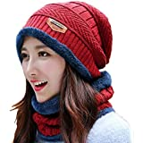 PinKit Women's Cap and Scarf - Imported Soft Warm Snow and Air Proof Fleece Knitted Cap (Inside Fur) Woollen Beanie…