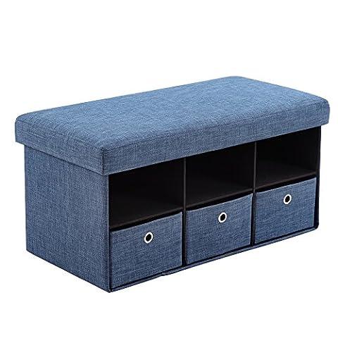 Beyonda Fmzdd0214pliable Organiseur Banc de rangement Table basse Ottoman Cube Tabouret Repose-pied, Coton, bleu, Taille