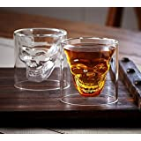 Skull Shot Glass,Set Of 4 2.5oz (75ml) Crystal Glasses,Double Layer Transparent Skull Pirate Shotglasses Drink Cocktail Beer Cup,Wine Cup,Drinking Ware Mugs,Thick Base Creative Halloween Mug (4)