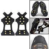 EBILUN 10 Zähne Spike Überschuhe, Winter Anti Slip Ice Snow Grips Ice Spikers Stiefel Schuhe...