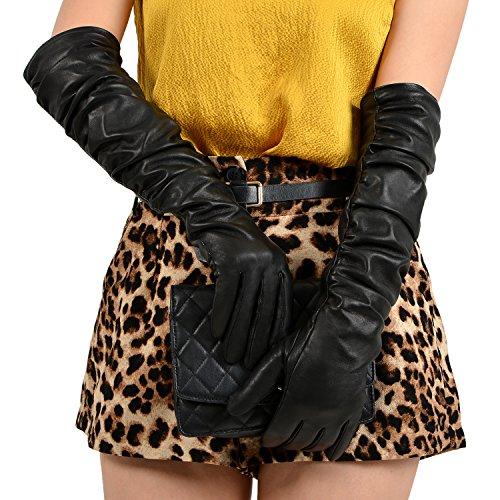 Weihnachten Deal Extra 10% OFF GSG Damen Abend lang Leder Kleid Handschuhe Winter Warm Fell Handschuhe Falten Dekoration Gr. Large, schwarz