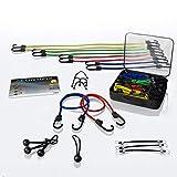 CONTIFIX, funi elastiche per bagagli, premium, in molte misure, set da 25pezzi universale, inclusirete portaoggetti e tenditore per telone, elastici molto forti con gancio per bici, moto e auto