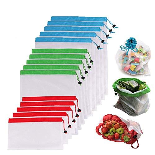 Set 15Stück wiederverwendbar Mesh waschbar transparenten Taschen für Einkaufen der Aufbewahrung von Obst Gemüse Garten umweltfreundlich produzieren Net Staubbeutel