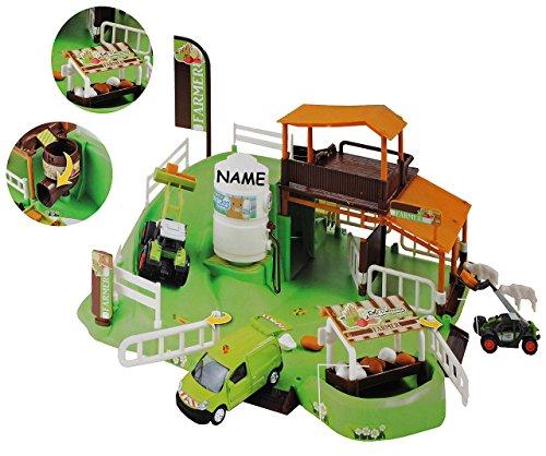 Unbekannt Set: XL Bauernhof / mit Silo + Stall + Traktor + Zubehör incl. Namen - Maßstab 1/64 - zum Spielen für Kinder + Bauen aus Plastik / Kunststoff - Farmtiere Deko..