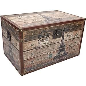 XL Truhe Paris Eiffelturm 69x40,5x43cm Holzkiste Holztruhe Schatzkiste Schatztruhe Aufbewahrungskiste Aufbewahrungstruhe Aufbewahrung