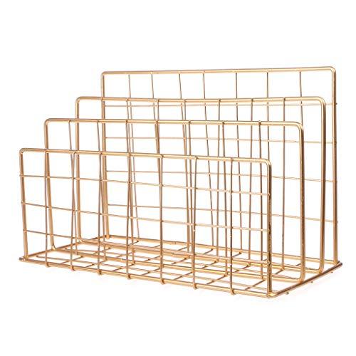 zrshygs Magazine Rack Tisch für das Wohnzimmer Grid Schmiedeeisen Desktop-Lagerregal Bookshelf Magazine File Organizer Holder GD Wand Home Desktop