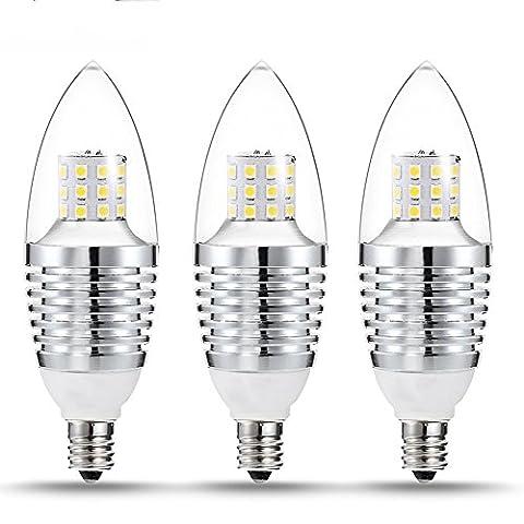 evaric Candelabra Triac Ampoule cristal à LED 7W Ampoule à incandescence, E12Chandelier Base 3pcs, 110V, 650lm, 2700–3200K LED, forme Torpedo, argent blanc chaud Weiß