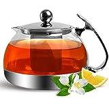 Teekanne aus Glas mit herausnehmbarem Edelstahl Teesieb 1,2 Liter - Teebereiter Glasteekanne Teekrug Teesieb Teefilter
