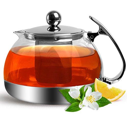 Teekanne Glas mit Siebeinsatz 1200ml herausnehmbaren Edelstahl Filter Sieb Teesieb Hitzebeständig Glaskanne Kanne Deckel