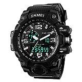 Skye Reker Digitale Armbanduhr Herren Outdoor Sport Uhren Dual Display Armbanduhren Wasserdicht PU strap-black Farbe