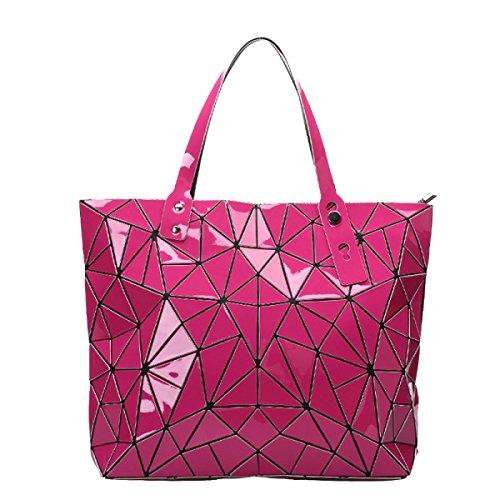 Frauen Mode Handtasche Schulter-Beutel PU Geometric Diamant Lattice Multicolor Red