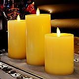 smtyle Led Wachskerzen Flammenlose Kerzen mit Timer Batteriebetrieben Flame Stumpenkerze ,pack3