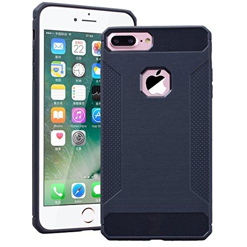 SMART LEGEND iPhone 7 Plus Weiche Silikon Hülle Rutschfest Kohlefaser Bumper Schutzhülle Transparent Hülle mit Grau Muster Handyhülle Crystal Kirstall Clear Etui Ultra Slim Design Glatt Durchsichtig W Grau