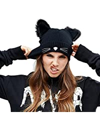 e1218089a4a EVRFELAN Black Cat Ears Hats Embroidered Warm Knit Crochet Beanies Wool  Cute Fashion Skull Cap for