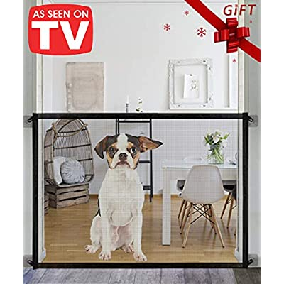 Queenii Magic Gate for Dogs,Pet Safety Gate, Portable Folding Mesh Magic Gate, Safe Guard Install Anywhere, Safety Fence for Hall Doorway 78 * 104cm (Black)