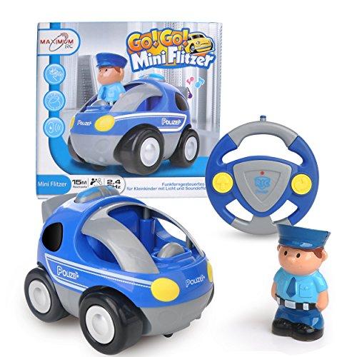 ferngesteuertes auto fuer 2 jaehrige Maximum RC - RC Polizeiauto für Kleinkinder - abschaltbare Sound- und Musikeffekte - RC Auto für Kinder ab 3 Jahren