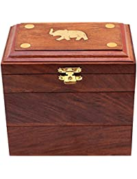 ITOS365 Handmade Wooden Jewellery Box for Women Jewel Organizer Elephant Charm Gift Items