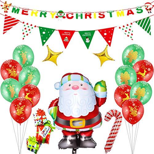 Etmury Weihnachten Deko,Weihnachtsfeier Dekoration Weihnachtsdekoration Set Festliche Atmosphäre Party Dekoration Weihnachtsmann Ballon Set,Weihnachtsmann/Ballon/Stern/Flagge/Merry Christmas