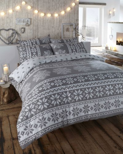 KING SIZE – DUVET QUILT COVER BED SET – GREY ALPINE DESIGN