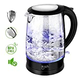 iKich Glass Electric Kettle with 100% Stainless Steel Inner Lid, 1.7 L, BPA free, 1500 W, Auto-off & Boil-Dry Protection, Cordless, LED Indicator Light, Boiler for Hot Water & Tea Make [A+++], Black