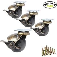 YeMI Ruedas giratorias de Repuesto para Muebles 360 Grados 50mm Ball Caster 4 Unidades (con Freno)