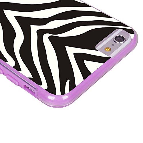 iPhone 6 6S Fall, Hülle, Case True Color® Leopard & Lace auf Zebra Slim Hybrid Hard Back + weich TPU Bumper Schutz Langlebig [True Schützen Serie] + kostenlosem Stylus und Displayschutzfolie violett