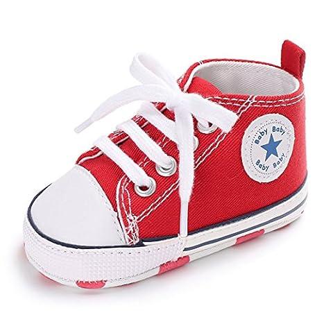 Mixte Chaussures Bébé Chaussures premiers pas Garçons Baskets Filles Sneaker 0-18 Mois (12cm:6-12 Mois, rouge)