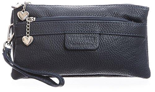 Pochette Da Donna Bhbs In Vera Pelle Italiana Con Numerose Tasche A Cuore 22 X 11 X 5 Cm (lxhxp) Blu Scuro