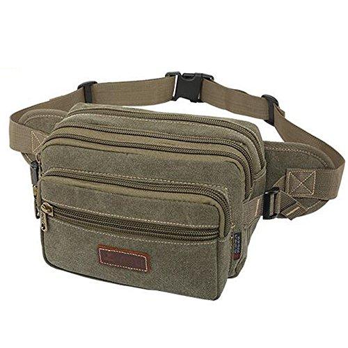 Marsupio multiple tasca borsa da viaggio sport all' aria aperta da uomo tela petto borsa, Khaki, S army green