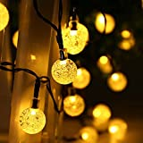lederTEK, Solar Lichterkette Außen mit LED Kugel 6m 30LED 8 Modi warmweiß Außenlichterkette Wasserdicht mit Lichtsensor Weihnachtsbeleuchtung Beleuchtung für Weihnachten