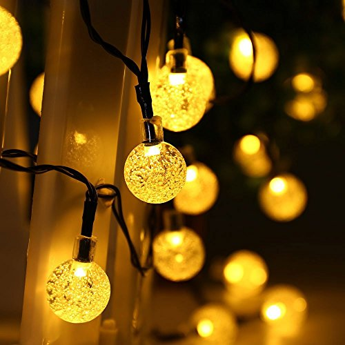 lederTEK Cadena de Luz LED con Energía Solar (6m 30LED) para Árbol de Navidad, Patio, Jardín, Terraza y Todas las Decoraciones con Diseño de Bolas de Cristal de Cálido Blanco