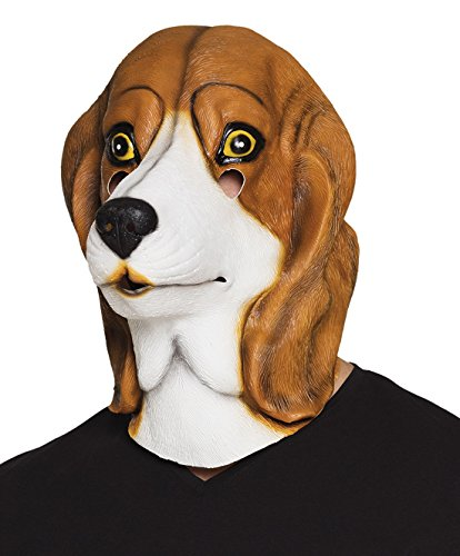 Halloweenia - Fasching Beagle Ganzkopfmaske, (Ohren Beagle Kostüm)