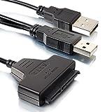 SATA HDD USB Anschluss | Einfach HDD als externe Festplatte nutzen | Doppel USB 2.0 Anschluss | Adapter Kabel für 2.5 SATA HDD / SSD - MOVOJA