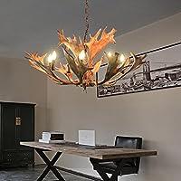 FWEF Vetro Resina Campagna Pastorale Retrò Lampadario Ristorante Living Room Bar Personalità Creativa Antlers 8 Testa Illuminazione