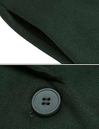 Damen Mantel Einreihiger Wollmantel Knielang Wintermantel Einfarbig TrenchCoat Langmantel Winter schwarz grün braun B-3-Grün