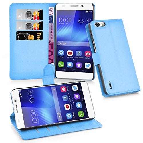 Cadorabo Hülle für Honor 6 Plus Hülle in Pastel blau Handyhülle mit Kartenfach und Standfunktion Case Cover Schutzhülle Etui Tasche Book Klapp Style Pastell-Blau