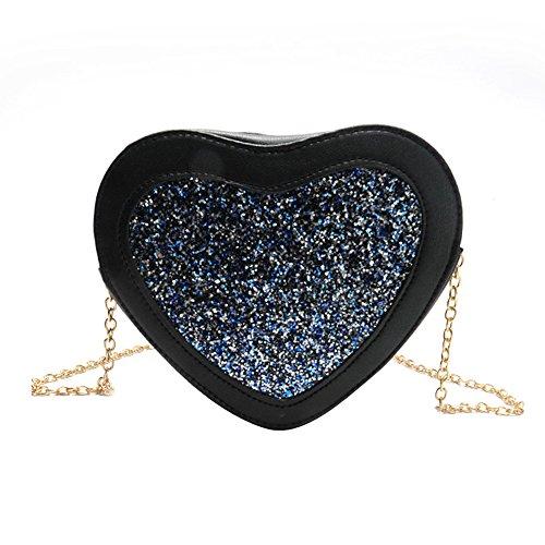 OneMoreT Umhängetasche in Herzform, PU-Leder, für Damen, Messenger Bag, Mädchen, mit Glitzersteinchen blau