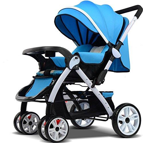 DACHUI Hochkarätige ultra-leichten tragbaren können Kinderwagen fahren, Falten vierrädrigen Kinderwagen, Baby Katze (Farbe: Blau)