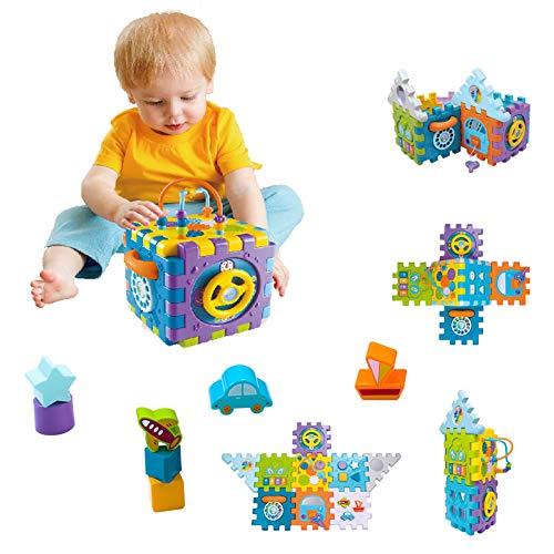 YGJT Spielzeug für 1 Jährige - 9 in 1 Motorikspielzeug Baby Kleinkindspielzeug Aktivitätszentrum Spielcenter Lernspielzeug für Kinder 1-4 Jahre BAU Spielzeug